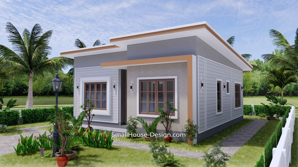 Small House Plan 27x30 with 2 Bedrooms Shed Roof 3d 3