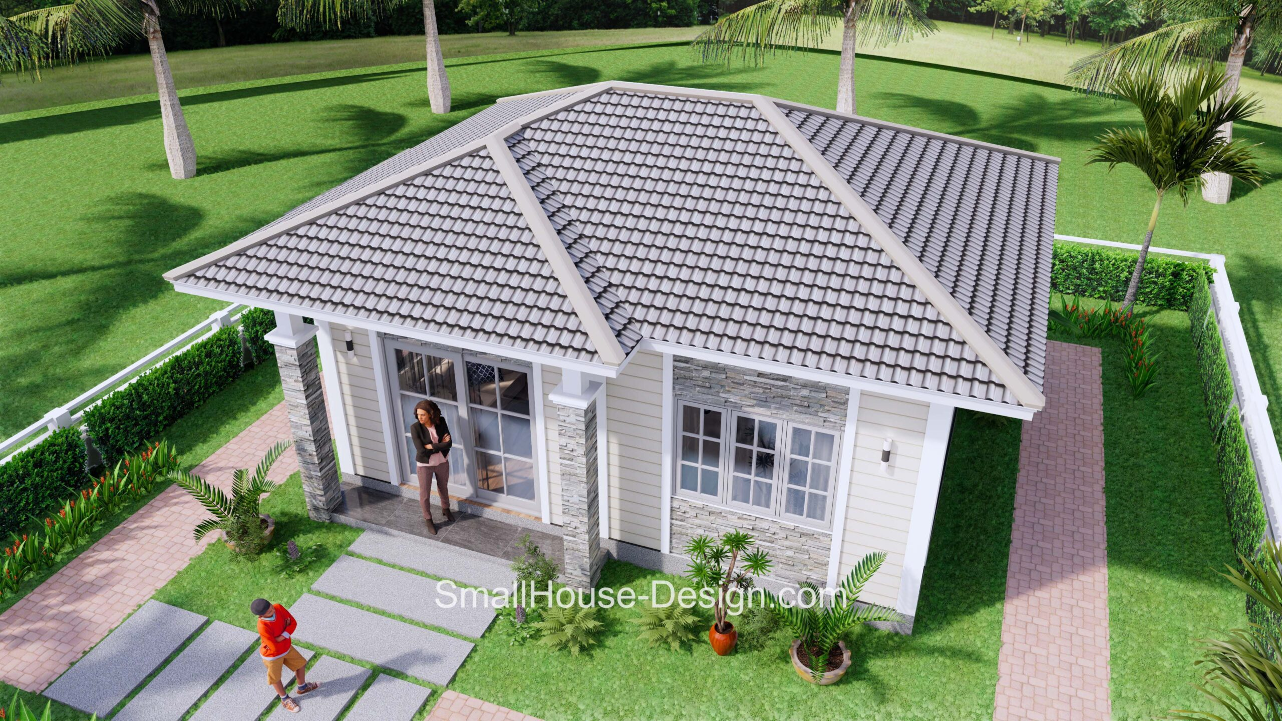 Small House Plan 7x6 Meters 1 Bed Hip Roof 6