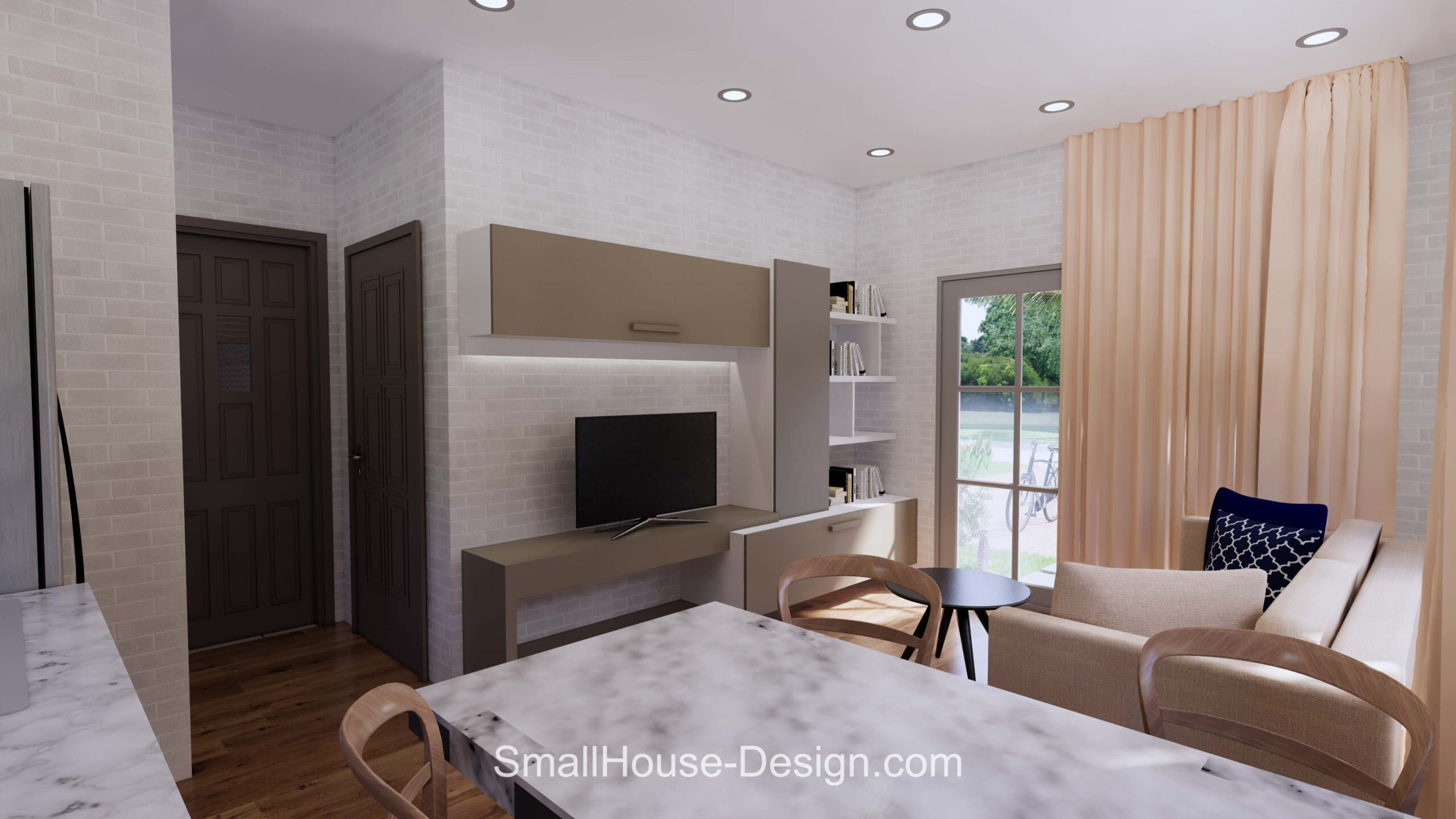 Small House Plan 7x6 Meters 1 Bed Hip Roof Living room 4