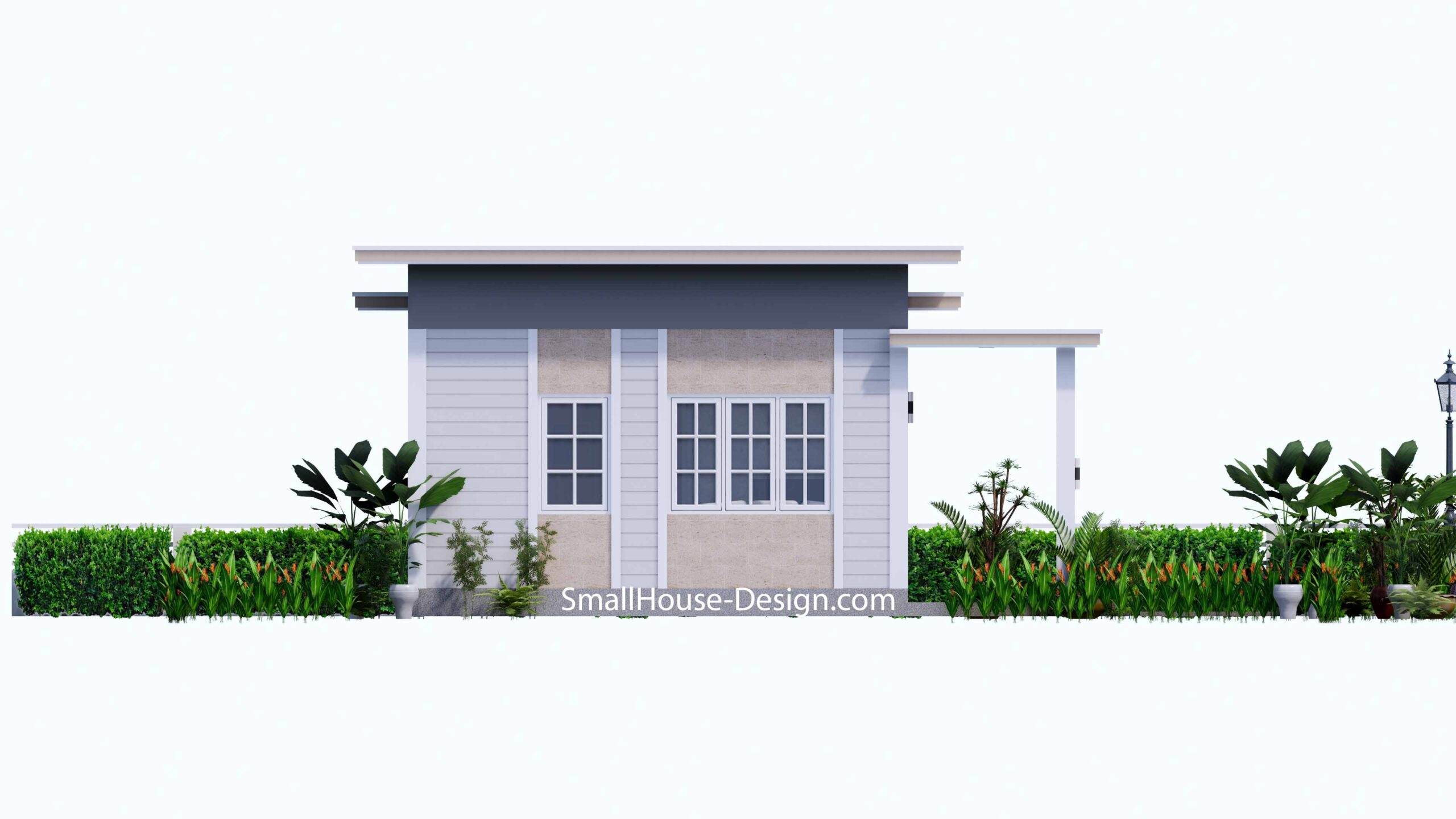 Small House Plan 7x7 with 1 Bedrooms Flat Roof Left view