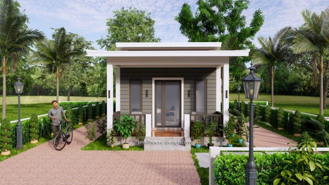 15x40 Small House Design 2 Bedrooms Shed Roof 2