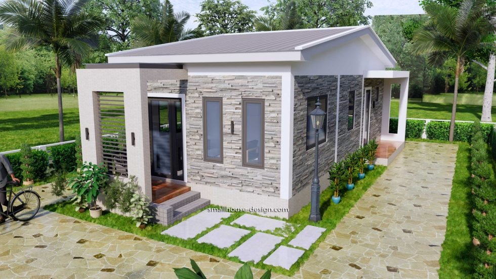 15x40 Small House Plans 2 Beds Gable Roof Full Plans 1