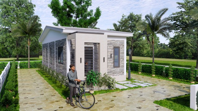 15x40 Small House Plans 2 Beds Gable Roof Full Plans 3