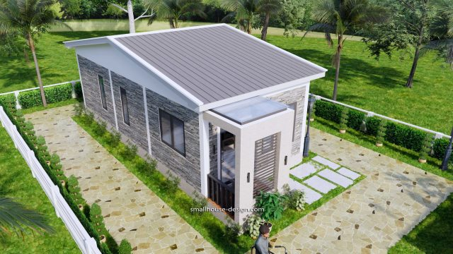 15x40 Small House Plans 2 Beds Gable Roof Full Plans 4