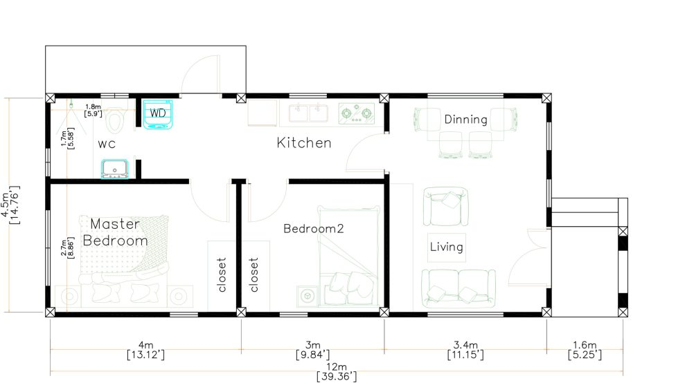 15x40 Small House Plans 2 Beds Gable Roof Full Plans layout plan