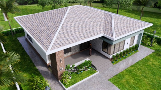 House Design Plans 12x12 Hip Roof 2 Bedrooms 5
