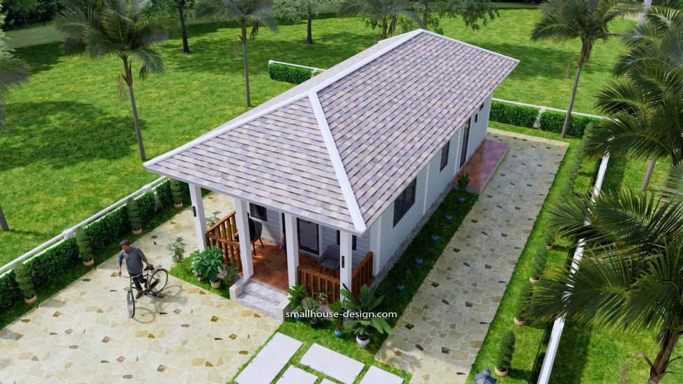 Small House Design 4.5x12 Meters 2 Beds Hip Roof 7v