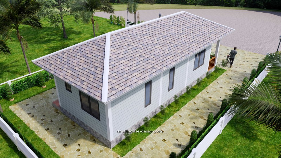 Small House Design 4.5x12 Meters 2 Beds Hip Roof 8