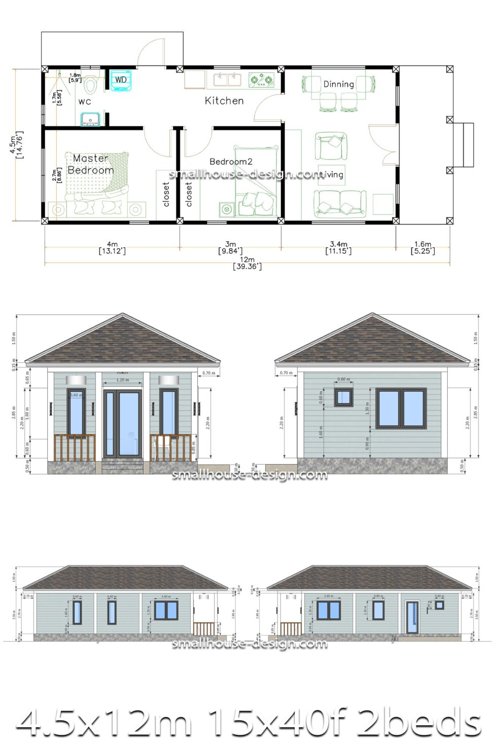 Small House Design 4.5x12 Meters 2 Beds Hip Roof all