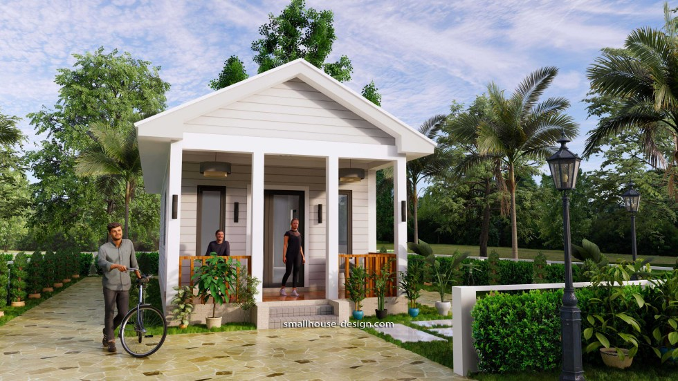 Small House Plans 4.5x12 Meters 2 Beds Gable Roof Style 1