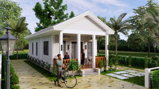 Small House Plans 4.5x12 Meters 2 Beds Gable Roof Style 2