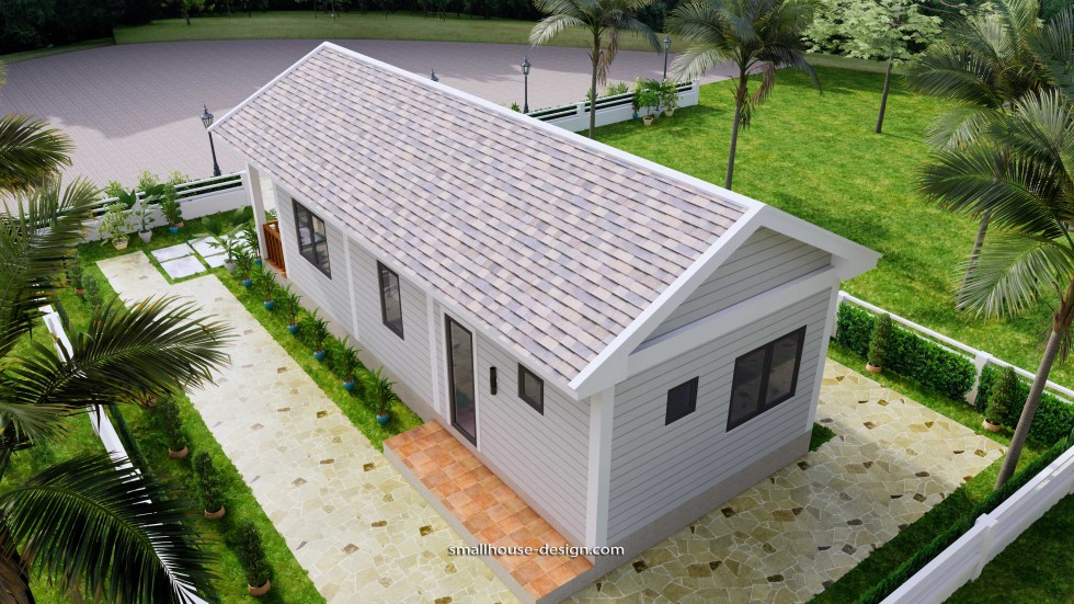 Small House Plans 4.5x12 Meters 2 Beds Gable Roof Style 8