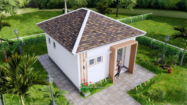 Small House Plans 5x6 M Hip Roof One Bedroom 4