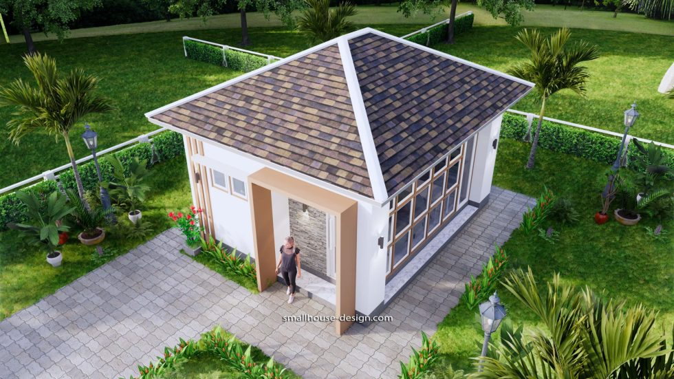 Small House Plans 5x6 M Hip Roof One Bedroom 5