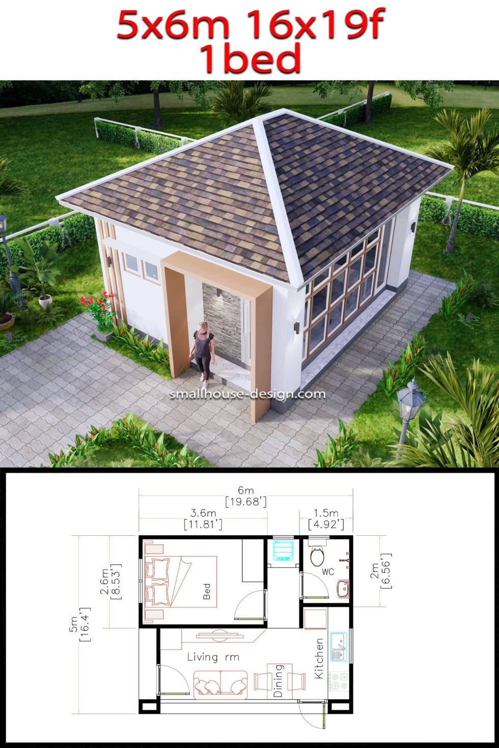 Small House Plans 5x6 M Hip Roof One Bedroom Full Pdf plans