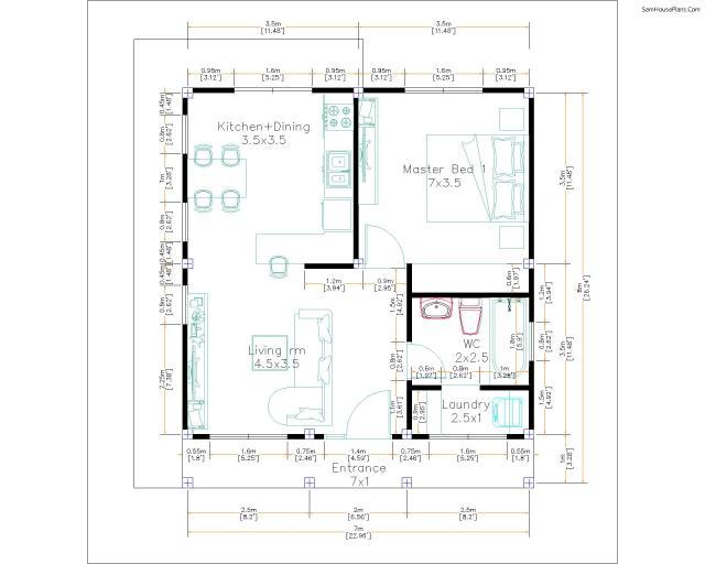 7x8 Layout Floor plan