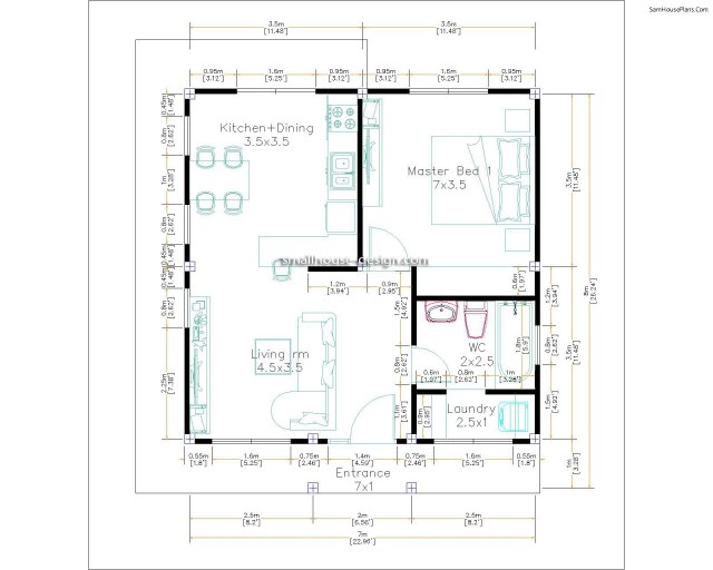House Plans 7x7m One Bedrooms Full Plans Layout Floor plan