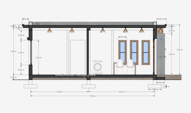 Small House Design 6x8 with 2 Beds 48 sqm 3d Section 2