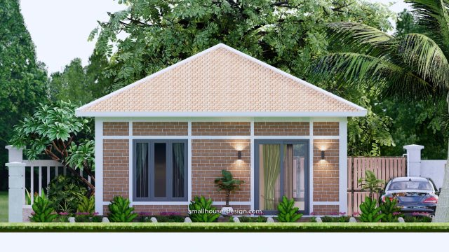 Small House Plans 7x7M with One Beds Full Layout Elevation Back 3d