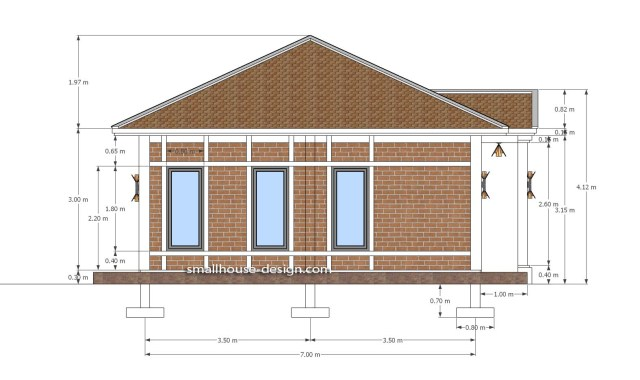 Small House Plans 7x7M with One Beds Full Layout Left