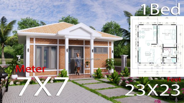 Small House Plans 7x7M with One Beds Full Layout