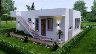 10x8 Small House Design 33x27 Feet 2 Bedrooms PDF Plan Back 3D