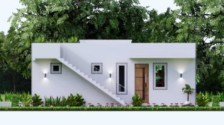 10x8 Small House Design 33x27 Feet 2 Bedrooms PDF Plan Elevation Back
