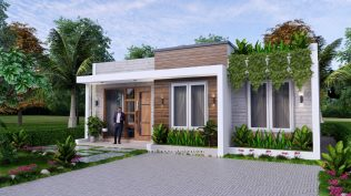 10x8 Small House Design 33x27 Feet 2 Bedrooms PDF Plan Front 3D 11