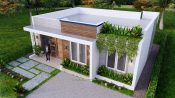 10x8 Small House Design 33x27 Feet 2 Bedrooms PDF Plan Front Top 3D