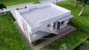 10x8 Small House Design 33x27 Feet 2 Bedrooms PDF Plan Top Back 3D