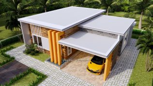 12x11 Small House Plan 3 Bedrooms 40x36 Feet Flat Roof 2