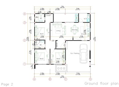 12x11 Small House Plan 3 Bedrooms 40x36 Feet Flat Roof layout plan