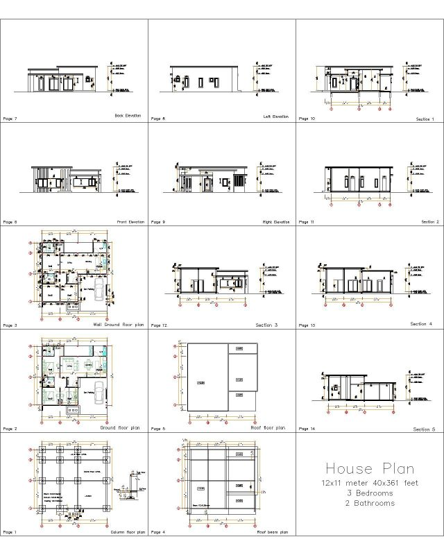 12x11 Small House Plan 3 Bedrooms 40x36 Feet Flat Roof all layout plan