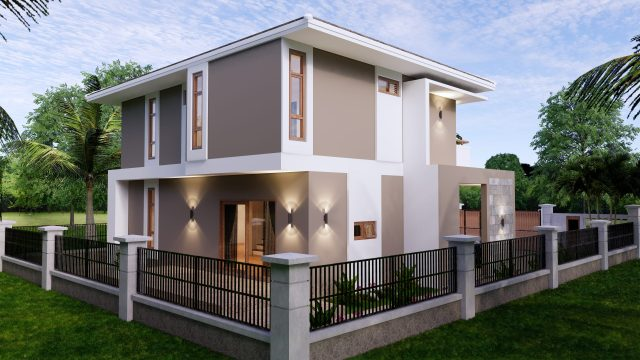 Small House Plan 11.5x9 M 38x29 Feet 3 Beds Full PDF Plan Back Left 3d