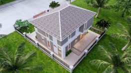Small House Plan 11.5x9 M 38x29 Feet 3 Beds Full PDF Plan Back Right roof 3d
