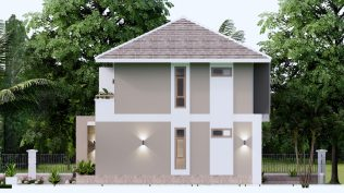 Small House Plan 11.5x9 M 38x29 Feet 3 Beds Full PDF Plan Elevation Right 3d