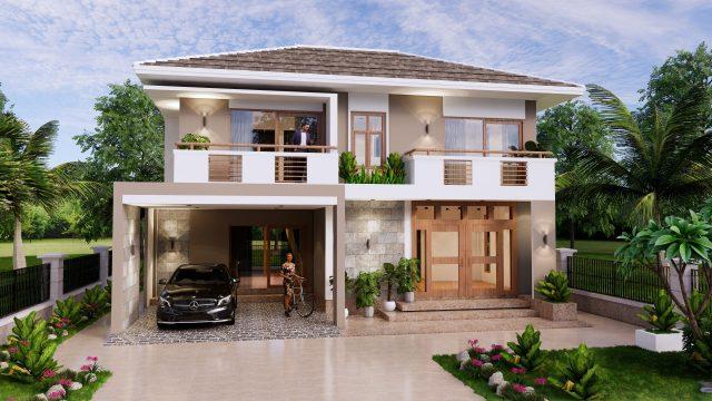 Small House Plan 11.5x9 M 38x29 Feet 3 Beds Full PDF Plan Front 3d
