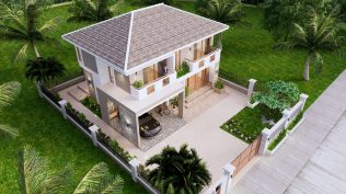 Small House Plan 11.5x9 M 38x29 Feet 3 Beds Full PDF Plan Front Left Roof 3d