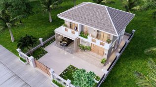 Small House Plan 11.5x9 M 38x29 Feet 3 Beds Full PDF Plan Front Right roof 3d