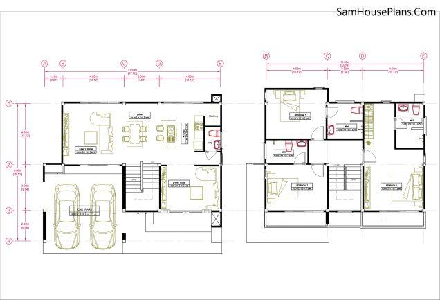 Small House Plan 11.5x9 M 38x29 Feet 3 Beds Full PDF Plan Layout floor plan
