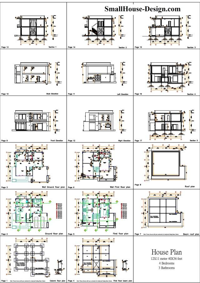 Small House Plan 12x11 m 40x36 Feet 4 Beds Pdf Full Plan All layout plan