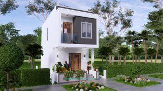 Small House Plan 4x7 M 13x23 Feet 2 Beds PDF Plan 3d front 1