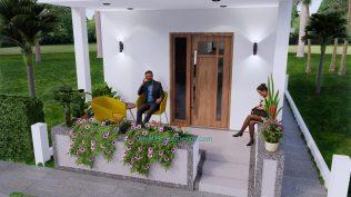 Small House Plan 4x7 M 13x23 Feet 2 Beds PDF Plan 3d front 7