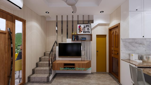 Small House Plan 4x7 M 13x23 Feet 2 Beds PDF Plan 3d living room tv