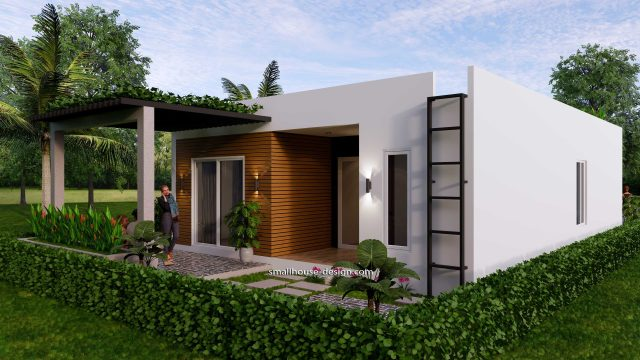 Small House Plan 8x12 M 27x40 Feet 2 Beds PDF Full Plans Back 3d 1