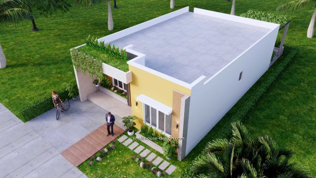 Small House Plan 8x12 M 27x40 Feet 2 Beds PDF Full Plans Front 3d 5