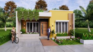 Small Small House Plan 8x12 M 27x40 Feet 2 Beds PDF Full Plans Front 3d 2