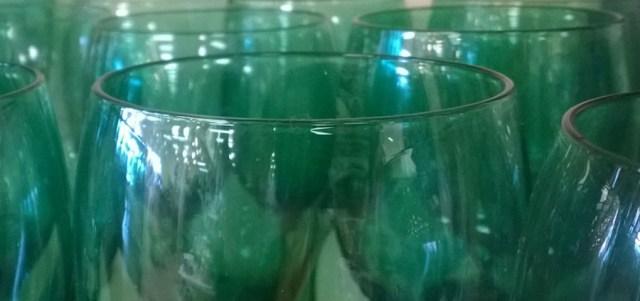 Green Wine Glasses, Goodwill Store, Pacifica CA