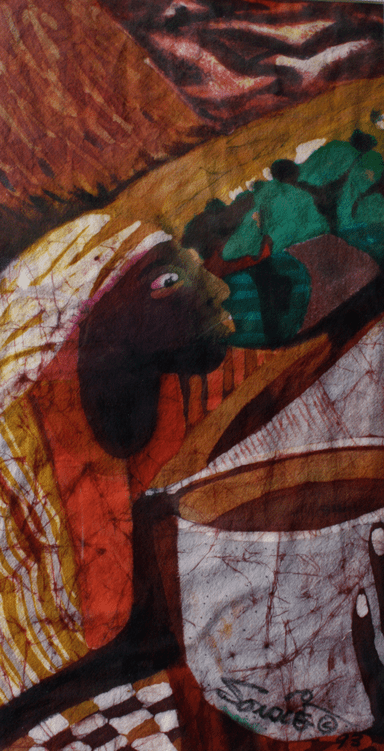 SHE IS FOREVER GIVING, 1993. BATIK BY SAIHOU O. NJIE. Reproduced by permission from the artist.