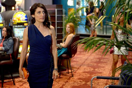 lisa edelstein hot, navy dress one shoulder